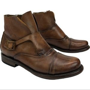 Sutro Brown Leather Distressed Ankle Boots 7.5